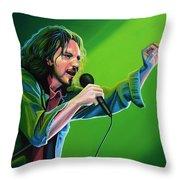 Eddie Vedder Of Pearl Jam Throw Pillow by Paul Meijering