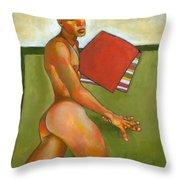Eduardo On Green Blanket Throw Pillow by Douglas Simonson