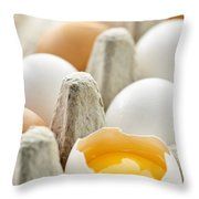 Eggs In Box Throw Pillow by Elena Elisseeva