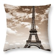 Eiffel Tower In Sepia Throw Pillow by Elena Elisseeva