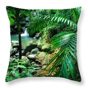El Yunque Palm Trees and Waterfall Throw Pillow by Thomas R Fletcher