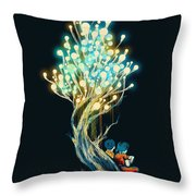 Electricitree Throw Pillow by Budi Kwan