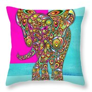 Elefantos - 01ac02aa Throw Pillow by Variance Collections