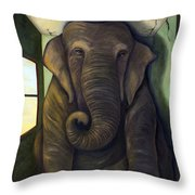 Elephant In The Room Throw Pillow by Leah Saulnier The Painting Maniac