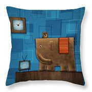 Elephant On The Wall Throw Pillow by Gianfranco Weiss