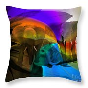 Elephant Walk Throw Pillow by Sydne Archambault