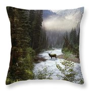 Elk Crossing Throw Pillow by Leland D Howard