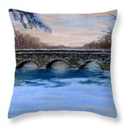 Elm Street Bridge On A Winter's Morn Throw Pillow by Jack Skinner