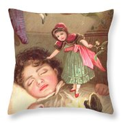 Elves Delivering Christmas Gifts Throw Pillow by English School