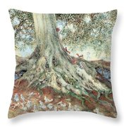 Elves In Rabbit Warren Throw Pillow by Photo Researchers