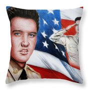 Elvis Patriot  Throw Pillow by Andrew Read