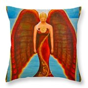 Emeliah Angel Of Inner Journeys Throw Pillow by Kevin Chasing Wolf Hutchins