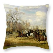 Emperor Franz Joseph I Of Austria Hunting To Hounds With The Countess Larisch In Silesia Throw Pillow by Emil Adam