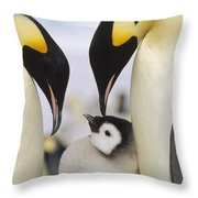 Emperor Penguin Parents With Chick Throw Pillow by Konrad Wothe