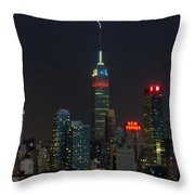 Empire State Building Lightning Strike I Throw Pillow by Clarence Holmes