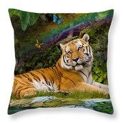 Enchaned Tigress Throw Pillow by Alixandra Mullins