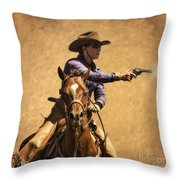 End of Trail 2012 Mounted Shooting Throw Pillow by Priscilla Burgers
