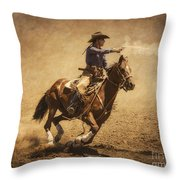 End Of Trail Mounted Shooting Throw Pillow by Priscilla Burgers