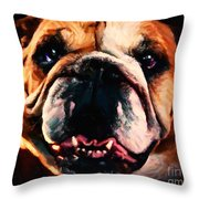 English Bulldog - Painterly Throw Pillow by Wingsdomain Art and Photography