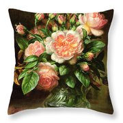 English Elegance Roses In A Glass Throw Pillow by Albert Williams