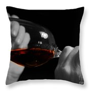Enjoying Wine Throw Pillow by Patricia Hofmeester