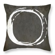 Enso No. 107 Gray Brown Throw Pillow by Julie Niemela
