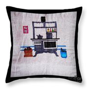Enterprise Woodstove - Grey Throw Pillow by Barbara Griffin