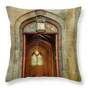 Entrance to the Gothic Revival Chapel. Streets of Dublin. Painting Collection Throw Pillow by Jenny Rainbow