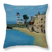 European Lighthouse Throw Pillow by Anthony Dunphy