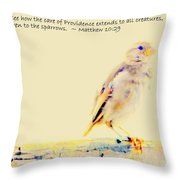 Even Sparrows Matter Throw Pillow by Kathy Barney