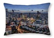 Evening City Lights Throw Pillow by Ron Shoshani
