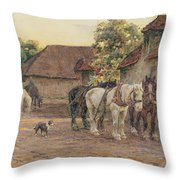 Evening Throw Pillow by Joseph Harold Swanwick