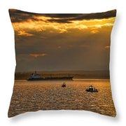 Evening Mariners Puget Sound Washington Throw Pillow by Jennie Marie Schell