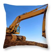 Excavator Throw Pillow by Olivier Le Queinec