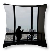 Eyes Down From The 103rd Floor Texting From The Top Of The World Throw Pillow by Thomas Woolworth