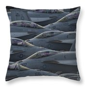 Fa18 Super Hornets Sit On The Flight Deck Of The Aircraft Carrier Uss Enterprise  Throw Pillow by Paul Fearn