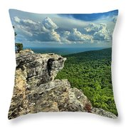 Face In The Cliff Throw Pillow by Adam Jewell