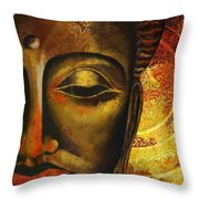 Face Of Buddha  Throw Pillow by Corporate Art Task Force