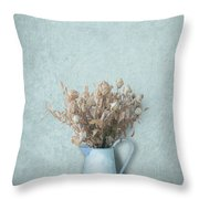 Faded Bouquet In Blue Throw Pillow by Artskratches