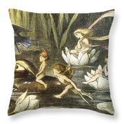 Fairies And Water Lilies Circa 1870 Throw Pillow by Richard Doyle