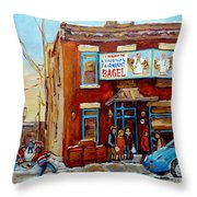 Fairmount Bagel In Winter Montreal City Scene Throw Pillow by Carole Spandau