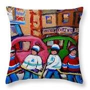 FAIRMOUNT BAGEL STREET HOCKEY GAME Throw Pillow by CAROLE SPANDAU