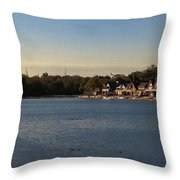 Fairmount Dam And Boathouse Row Throw Pillow by Photographic Arts And Design Studio