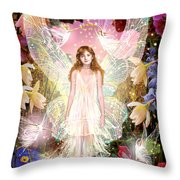 Fairy Crowning Throw Pillow by Garry Walton