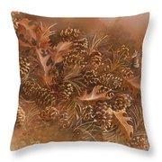 Fall Pinecones Throw Pillow by Paula Marsh