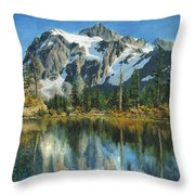 Fall Reflections - Cascade Mountains Throw Pillow by Mary Ellen Anderson