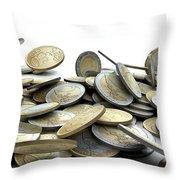 Falling Coins Throw Pillow by Allan Swart