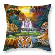 Family At The Jungle Pool Throw Pillow by Jan Patrik Krasny