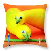 Family watching animals in zoo Throw Pillow by Paul Ge