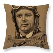 Famous Aviators Charles Lindbergh Throw Pillow by Dale Jackson